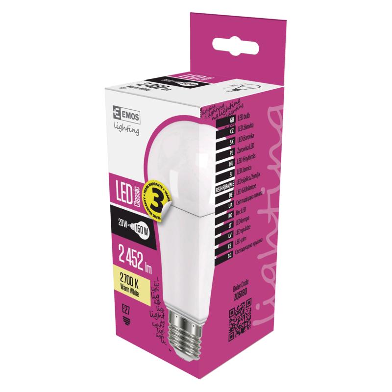 EMOS LED ŽÁROVKA CLASSIC A67 20W(150W) 2452lm E27 WW - 1525733205