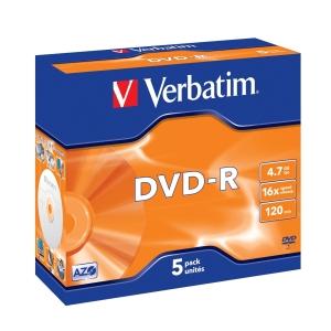 VERBATIM DVD-R(5-Pack)Jewel/MattSlvr/16x/4.7GB - 43519