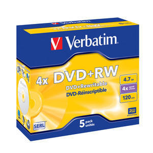 VERBATIM DVD+RW (4x, 4,7GB),5ks/pack - 43229
