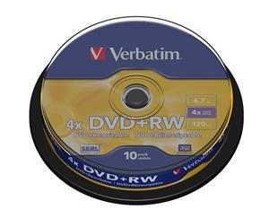 VERBATIM DVD+RW(10-Pack)Spindle4x/DLP/4.7GB - 43488
