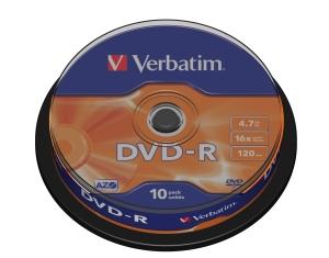 VERBATIM DVD-R(10-Pack)Spindl/MattSlvr/16x/4.7GB - 43523