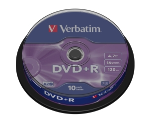 VERBATIM DVD+R(10-Pack)Spindl/MattSlvr/16x/4.7GB - 43498