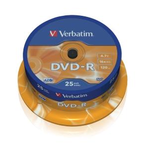 VERBATIM DVD-R(25-Pack)Spindl/MattSlvr/16x/4.7GB - 43522