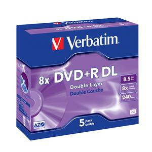 VERBATIM DVD+R(5-pack)DoubleLayer/Jewel/8x/8,5GB