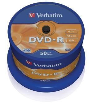 VERBATIM DVD-R(50-Pack)Spindl/MattSlvr/16x/4.7GB