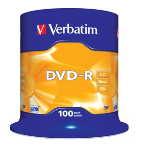 VERBATIM DVD-R(100-Pack)Spindl/MattSlvr/16x/4.7GB - 43549