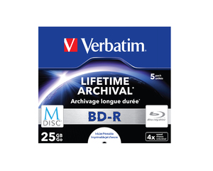 VERBATIM Blu-ray BD-R M-Disc 25GB 4x Printable jewel box, 5ks/pack