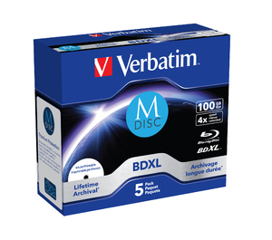 Verbatim Blu-ray M-DISC BD-R 100GB 4x Printable jewel box, 5ks/pack