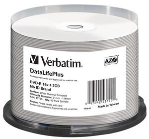 Verbatim DVD-R(50-pack)/16x/4,7GB/ThermoPrintable