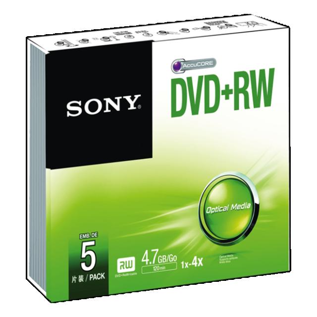 Média DVD-RW SONY; 4.7GB; 5 ks v balení