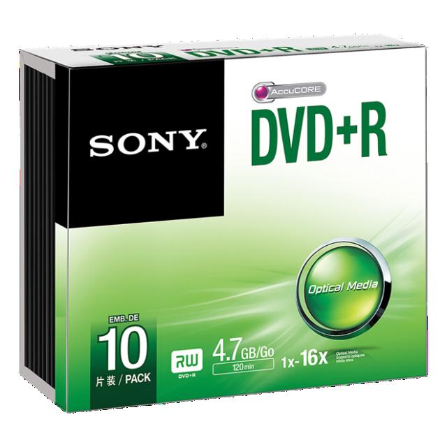 Média DVD-R SONY; 4.7GB; 10ks SLIM (120 min.)