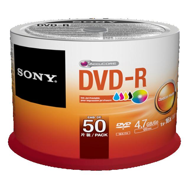 Média DVD-R SONY; 4.7GB; 50ks Injekt Printable Spindle