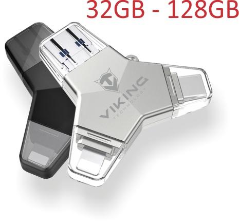 VIKING USB FLASH DISK 3.0 4v1 64GB, S KONCOVKOU APPLE LIGHTNING, USB-C, MICRO USB, USB3.0, stříbrná - VUFII64S