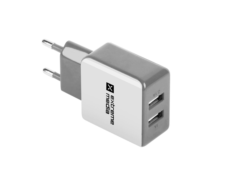 Universální nabíječka Natec 2,1A, 2x USB, bílo-šedá - NUC-0996