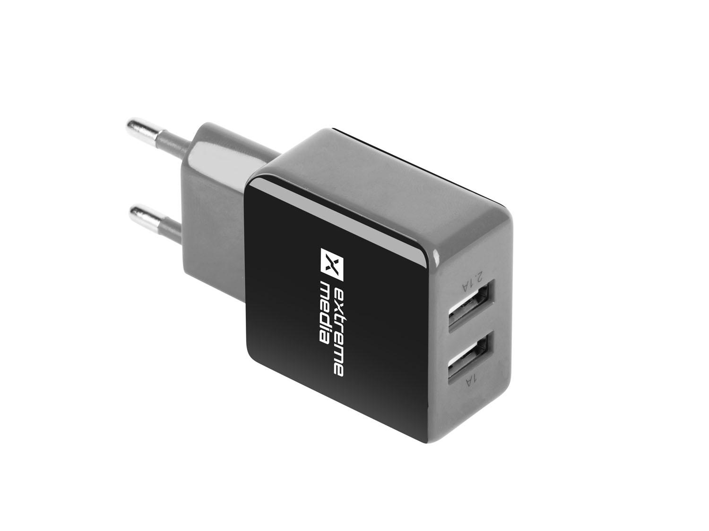 Universální nabíječka Natec 2,1A, 2x USB, černo-šedá - NUC-0995