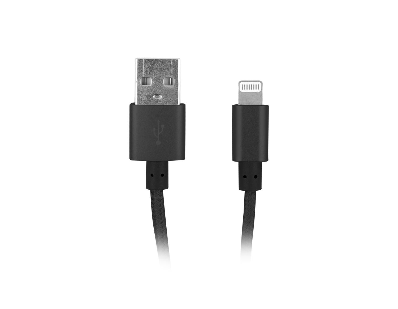 Natec certifikovaný MFI kabel Lightning pro Iphone s textilním opletením 1,5m černý - NKA-1537