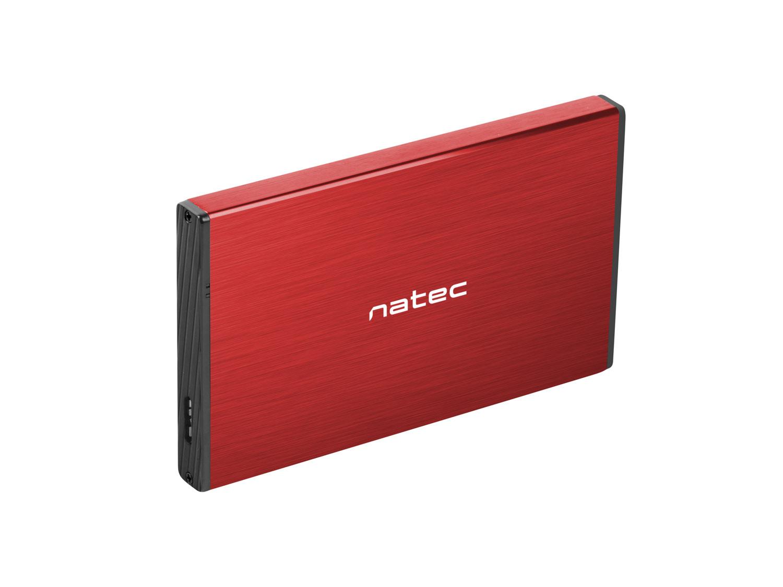 Externí box pro HDD 2,5'' USB 3.0 Natec Rhino Go, červený, hliníkové tělo - NKZ-1279