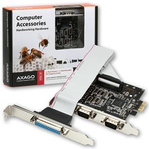 AXAGON PCEA-SP, PCIe adaptér - 2x sériový port (RS232) + 1x paralelní (LPT) - PCEA-SP