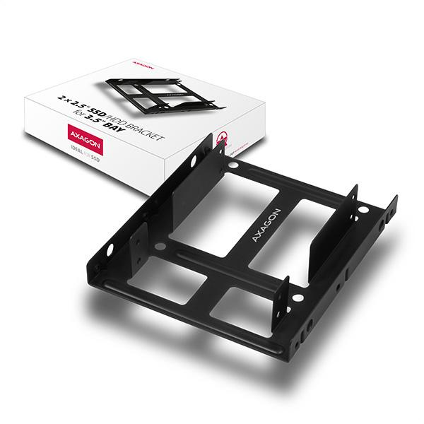 AXAGON RHD-225, kovový rámeček pro 2x 2.5'' HDD/SSD do 3.5'' pozice, montáž ventilátoru - RHD-225
