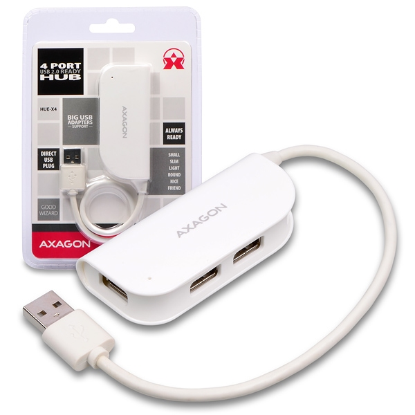AXAGON externí 4x USB2.0 READY WHITE hub