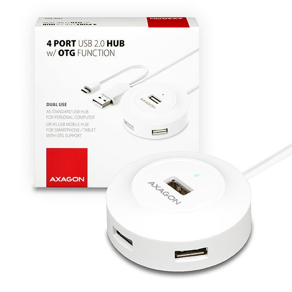 AXAGON 4x USB2.0 cable hub + micro USB OTG WHITE