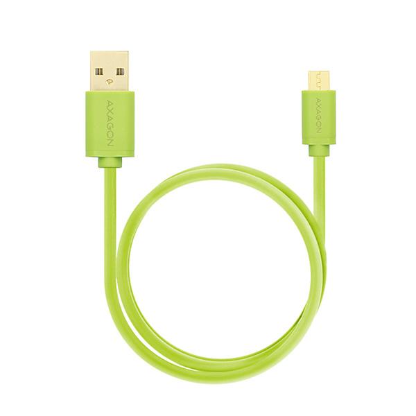 AXAGON HQ Kabel Micro USB, 2A, zelený, 1 m