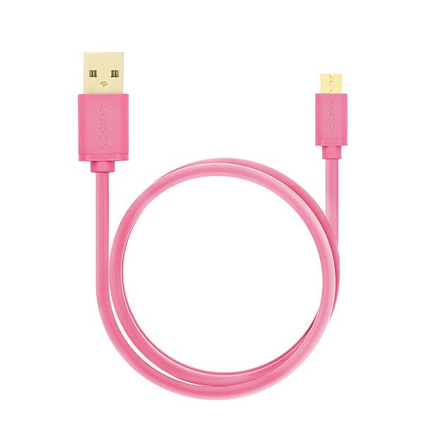AXAGON HQ Kabel Micro USB, 2A, růžový, 0.5 m