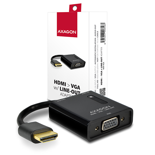 AXAGON HDMI -> VGA adaptér, FullHD, audio výstup