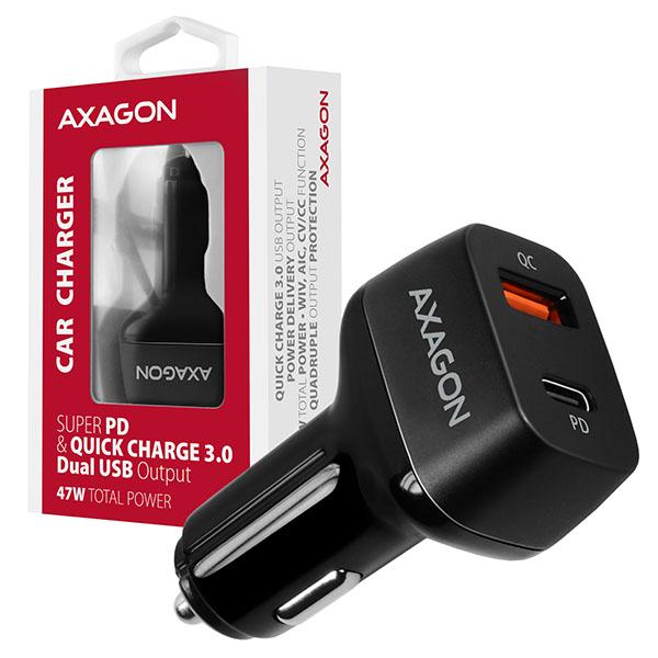 AXAGON PWC-PDQ, PD a QUICK nabíječka do auta, 2x port QC3.0/AFC/FCP/SCP + PD type-C, 47W - PWC-PDQ