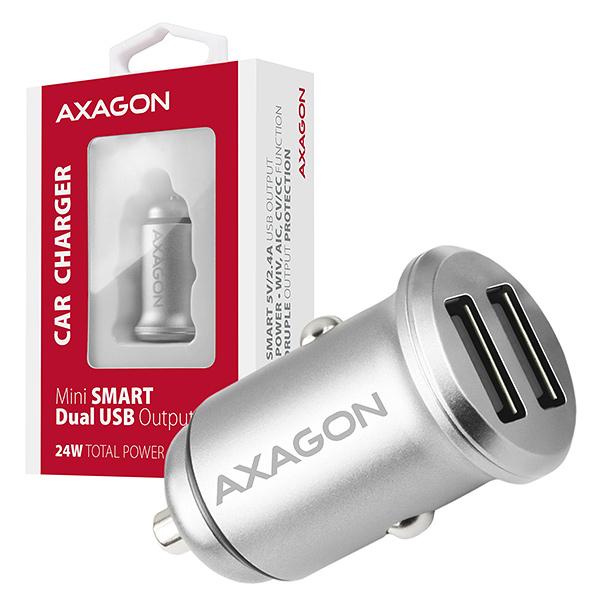 AXAGON PWC-5V4, mini SMART nabíječka do auta, 2x port 5V-2.4A + 2.4A, 24W - PWC-5V4