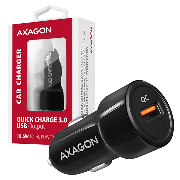 AXAGON PWC-QC, QUICK nabíječka do auta, 1x port QC3.0/AFC/FCP/PE+/SMART, 19.5W - PWC-QC