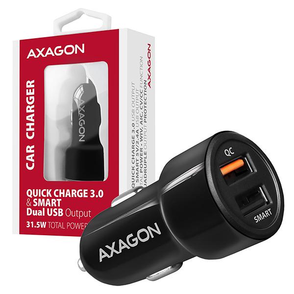 AXAGON PWC-QC5, QUICK a SMART nabíječka do auta, 2x port QC3.0/AFC/FCP + 5V-2.6A, 31.5W - PWC-QC5