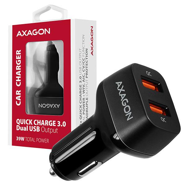 AXAGON PWC-DQC, dual QUICK nabíječka do auta, 2x port QC3.0/AFC/FCP/PE+/SMART, 39W - PWC-DQC