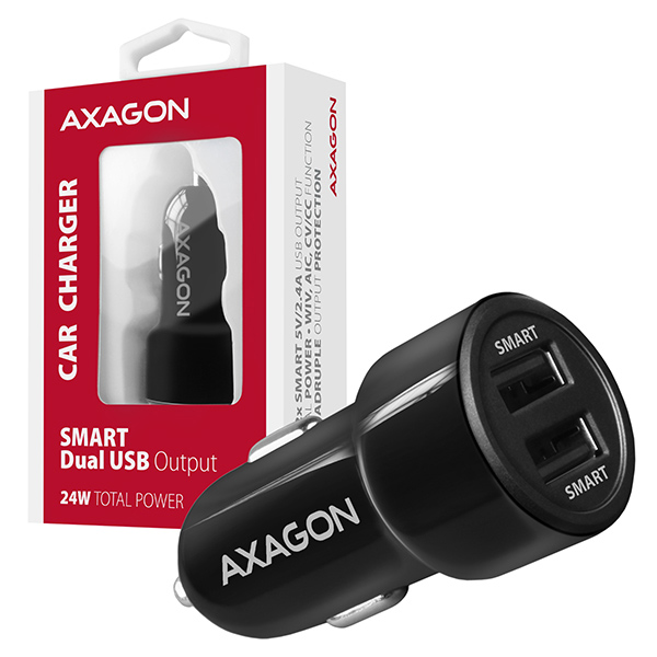 AXAGON PWC-5V5, SMART nabíječka do auta, 2x port 5V-2.4A + 2.4A, 24W - PWC-5V5