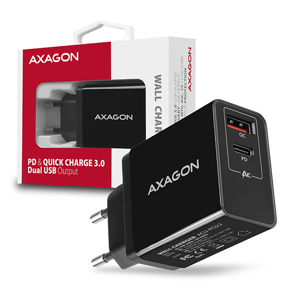 AXAGON ACU-PQ22, PD & QUICK nabíječka do sítě 22W, 2x port (USB + USB-C), PD3.0/QC3.0/AFC/FCP/Apple - ACU-PQ22