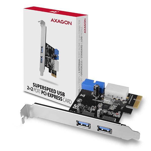 AXAGON PCEU-232VL, PCIe řadič, 2+2x USB 3.2 Gen 1 port, UASP, vč. LP - PCEU-232VL