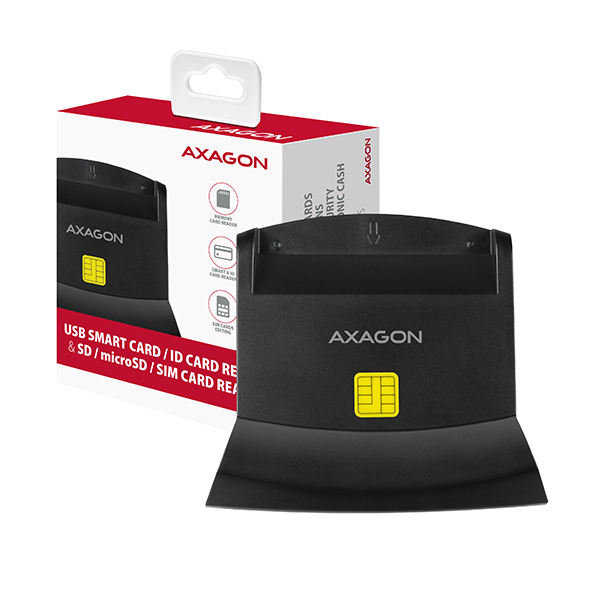 AXAGON CRE-SM2, USB externí čtečka 4-slot Smart card/ID card (eObčanka) + SD/microSD/SIM - CRE-SM2