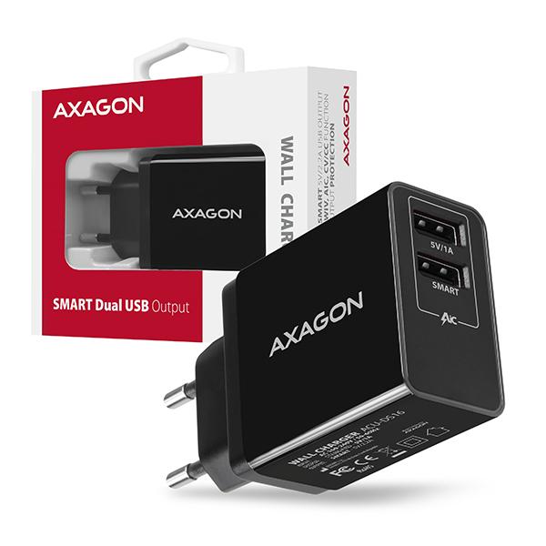 AXAGON ACU-DS16, SMART nabíječka do sítě, 2x USB výstup 5V/2.2A + 5V/1A, 16W - ACU-DS16