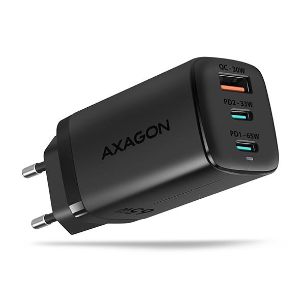 AXAGON ACU-DPQ65, GaN nabíječka do sítě 65W, 3x port (USB + dual USB-C), PD3.0/QC4+/PPS/Apple - ACU-DPQ65