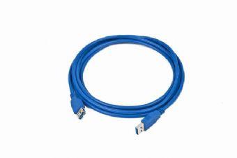 Kabel USB A-A 3m USB 3.0 prodlužovací, modrý