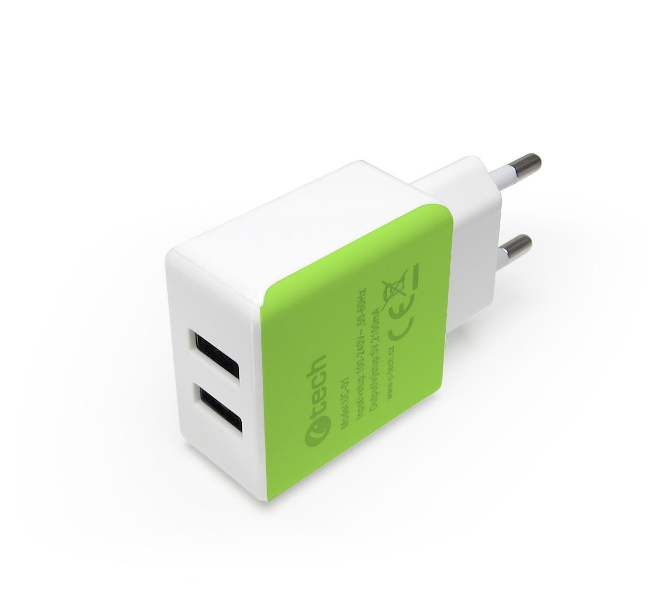 C-TECH Nabíječka, 2x USB, 2,1A, bílá-zelená