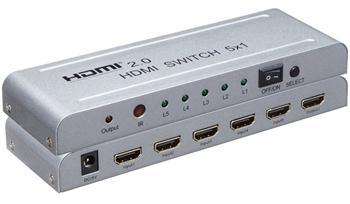 PremiumCord 4Kx2K@60Hz HDMI switch 5:1 kovový s dálkovým ovladačem a napájecím adaptérem - khswit51e