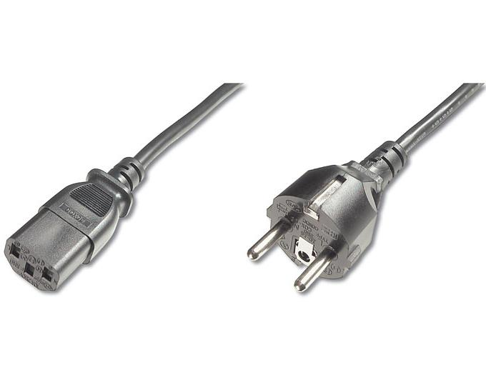 PremiumCord Kabel síťový 230V k počítači 2m , přímý konektor do zásuvky - kpsp2r