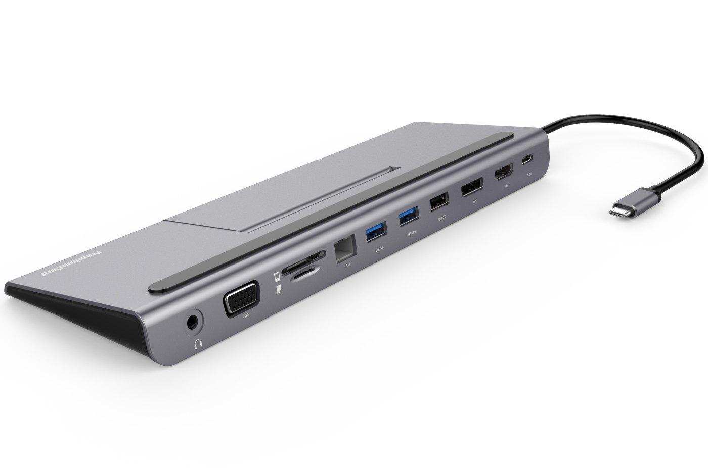 PremiumCord USB-C MST dock se stojanem na telefon - ku31dock13