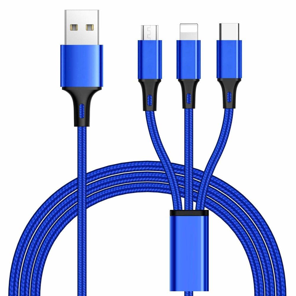 PremiumCord 3 in 1 USB kabel, 3 konektory USB typ C + micro USB + Lightning pro Apple, 1.2m - ku31pow01