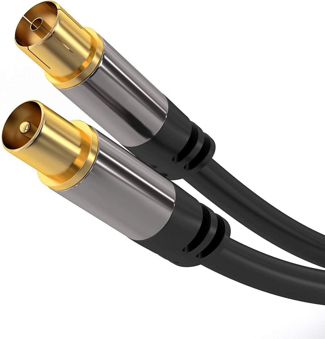 PremiumCord TV antenní HQ propojovací kabel M/F 75Ohm (135dB) 4x stíněný 5m - kjqiec5