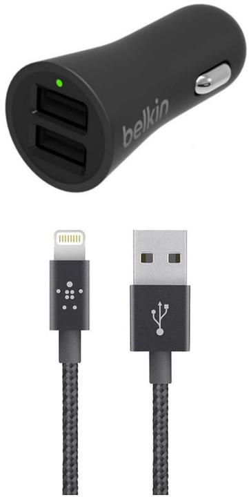BELKIN USB dual autonabíječka 2 x 2.4A + Lightning - F8J221bt04-BLK