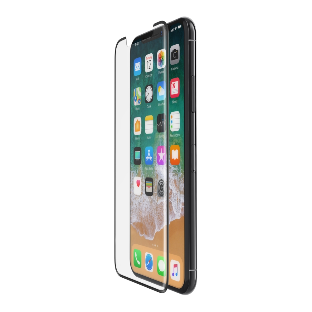 BELKIN Tempered Curve Black Screen Protector for iPhone X with installation frame