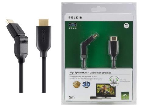 BELKIN HDMI 1.4 kabel Gold, 180° otočný, 2 m