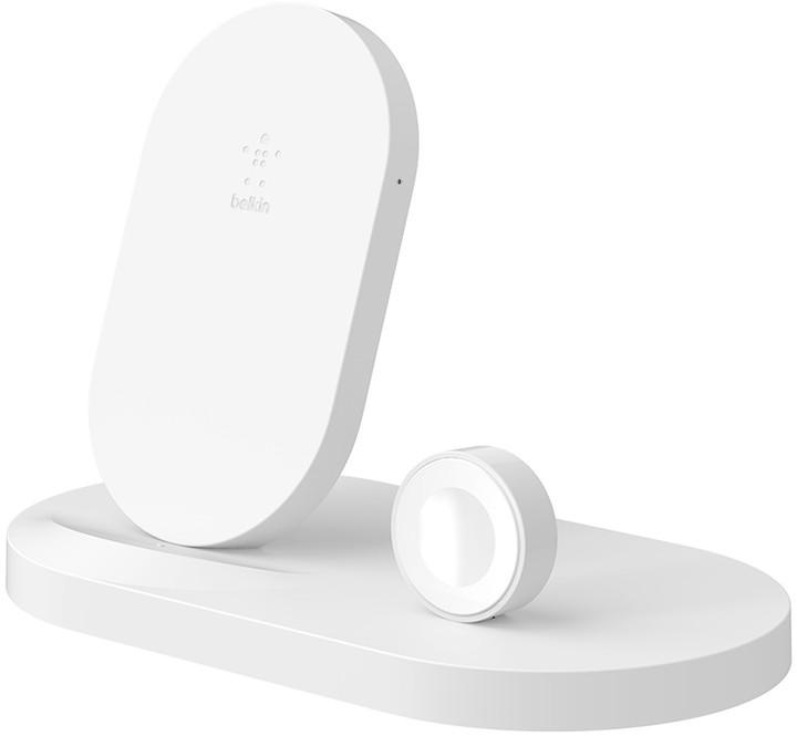 BELKIN bezdrátová QI nabíječka, 7.5W, pro Apple Watch/iPhone, s USB, bílá - F8J235vfWHT